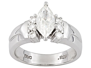 MOISSANITE FIRE® 1.30CT DIAMOND EQUIVALENT WEIGHT MARQUISE AND ROUND PLATINEVE™ RING