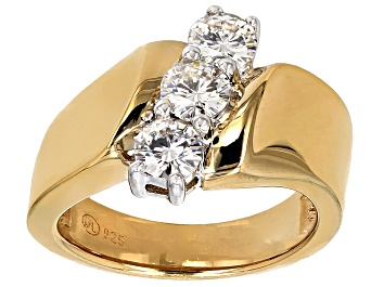 Picture of Moissanite Fire(R)  14k Yellow Gold Over Sterling Silver 3-Stone Ring 1.00ctw DEW