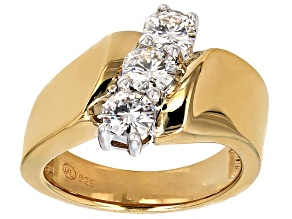 Womens Diagonal 3-Stone Ring White Moissanite 1ctw 14k Gold Over Silver