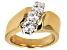 Womens Diagonal 3-Stone Ring White Moissanite 1ctw 14k Gold Over Silver