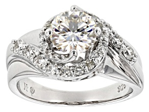 Moissanite Fire® 1.80ct Diamond Equivalent Weight Round Platineve™ Swirl Ring