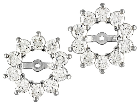 Womens Halo Earrings Jackets White Moissanite 1 20ct Round Platineve