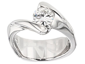 Womens Modern Bypass Solitaire Ring White Moissanite .80ct 6mm Round Platineve