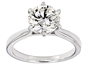Picture of Moissanite Fire® 2.70ct Diamond Equivalent Weight Round Platineve™ Solitaire Ring