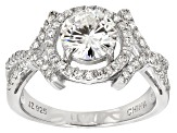 Womens Crossover Design Solitaire Ring White Moissanite 2.50ctw Platineve