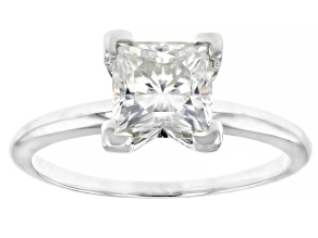 White Moissanite 7mm Square Brilliant 14k White Gold Solitaire Ring