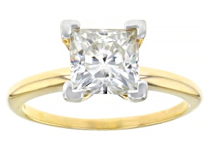 Moissanite Fire 2 10ct Diamond Equivalent Weight Square Brilliant 14k Yg Solitaire Ring