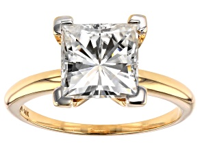 Moissanite 14k Yellow Gold Solitaire Ring 3.10ctw DEW.