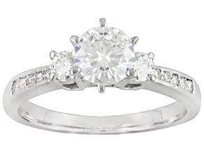 2.12ct Round White Moissanite 14k White Gold 3-Stone Engagement Style Ring