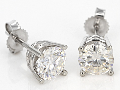 Moissanite Fire® 1.60ctw Diamond Equivalent Weight Round 14k White Gold Stud Earrings