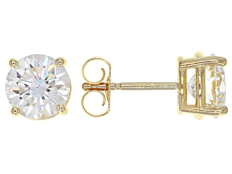 Moissanite Fire® 2.00ctw Diamond Equivalent Weight Round 14k Yellow Gold Stud Earrings
