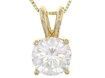 FB Jewels 14K Yellow Gold Round 4-Prong Cast Heavy Weight 1.50ct Pendant Setting
