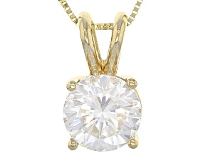 Moissanite Fire® 1.50ct DEW Round 14k Yellow Gold Pendant With 18 inch Baby Box Chain