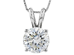 Moissanite Fire® 1.50ct DEW Round 14k White Gold Pendant With 18 inch Baby Box Chain