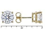 Moissanite Fire™ 3.80ctw Diamond Equivalent Weight Round, 14k Yellow Gold Stud Earrings.