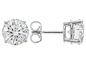 Moissanite Fire® 3.80ctw Diamond Equivalent Weight Round 14k White Gold Stud Earrings