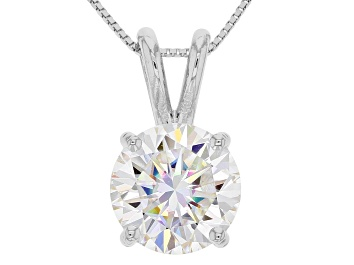 Picture of Moissanite Fire® 2.20ct DEW Round 14k White Gold Pendant With 18 inch Baby Box Chain