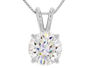Moissanite Fire® 2.20ct DEW Round 14k White Gold Pendant With 18 inch Baby Box Chain