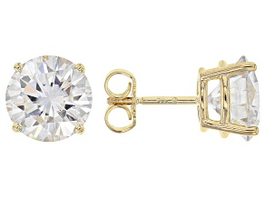 Moissanite 14k Yellow Gold Stud Earrings 5.40ctw DEW.
