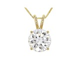 Moissanite 14k Yellow Gold Pendant 3.10ct DEW.