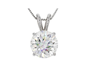 Moissanite 14k White Gold Pendant 3.10ctw DEW.
