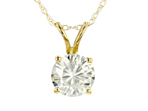 Moissanite 14k Yellow Gold Solitaire Pendant With Chain .80ctw DEW