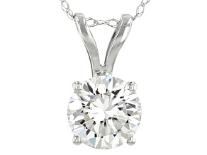 Moissanite 14k White Gold Pendant With Chain 1.00ct DEW