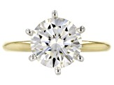 Moissanite 14k Yellow Gold Ring 3.10ct Diamond Equivalent Weight