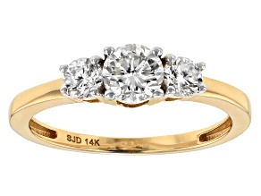 Moissanite Fire® .82ctw Diamond Equivalent Weight Round 14k Yellow Gold Ring