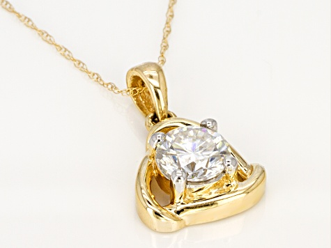 Moissanite 14k Yellow Gold Pendant And Chain 1.00ct D.E.W