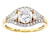 Moissanite 14k Yellow Gold Ring 1.58ctw D.E.W
