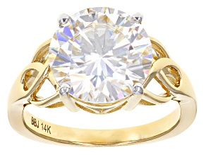 Moissanite 14k Yellow Gold Ring 4.75ct D.E.W