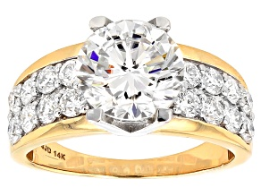 Moissanite 14k Yellow Gold Ring 3.66ctw DEW
