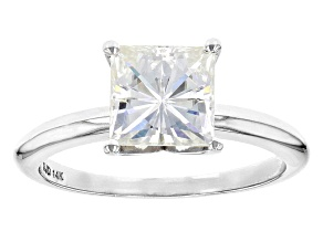 Moissanite Fire® 2.10ct DEW Square Brilliant 14k White Gold Solitaire Ring