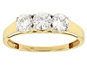 Moissanite 14k Yellow Gold Ring .99ctw D.E.W