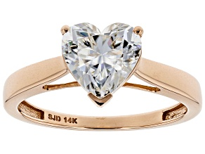Moissanite 14k Rose Gold Ring 1.80ct DEW.