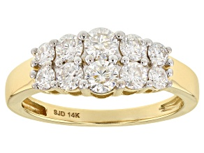 Moissanite 14k Yellow Gold Ring .96ctw DEW