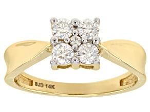 Moissanite 14k Yellow Gold Ring .42ctw DEW