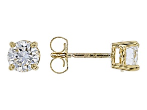 Moissanite 10k Yellow Gold Stud Earrings 1.00ctw DEW.