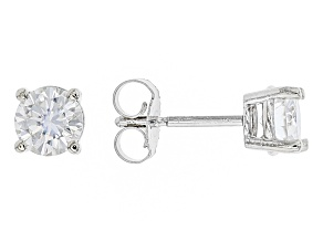 Moissanite 10k White Gold Stud Earrings 1.00ctw DEW.