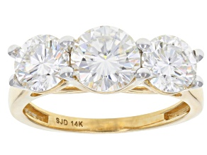 Moissanite 14k Yellow Gold Ring 2.80ctw D.E.W