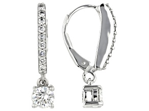 Moissanite 14k White Gold Earrings 1.02ctw DEW.