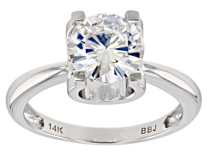 Moissanite 14k White Gold Ring 1.90ct DEW