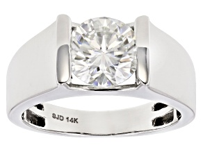 Moissanite 14k White Gold Ring 1.90ct D.E.W