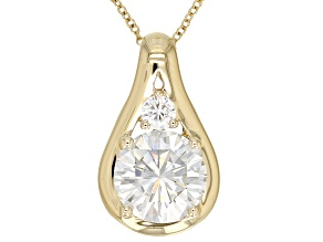 Moissanite 14k Yellow Gold Pendant 2.00ctw DEW.