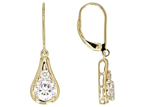 Moissanite 14k Yellow Gold Earrings 1.72ctw DEW.