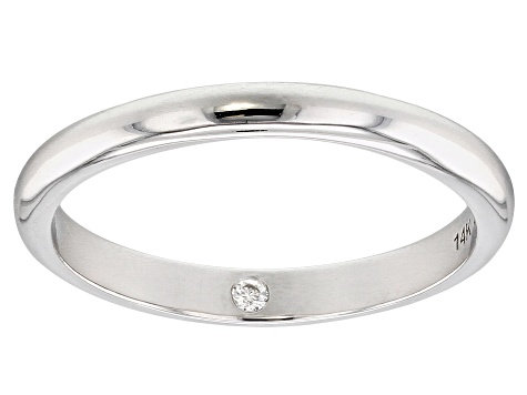 Moissanite 14k White Gold Band .02ct DEW