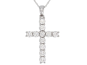 Moissanite 14k White Gold Cross Pendant 1.10ctw DEW.
