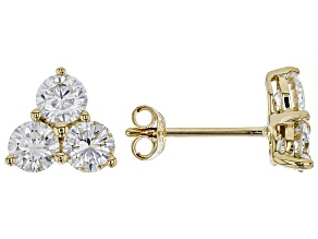 MOISSANITE 14K YELLOW GOLD EARRINGS 1.38CTW DEW.