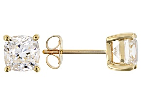 MOISSANITE 14K YELLOW GOLD EARRINGS 2.20CTW DEW.